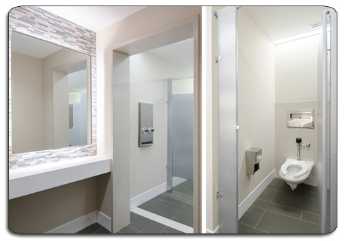 Public Restroom Toilet Partitions Installed