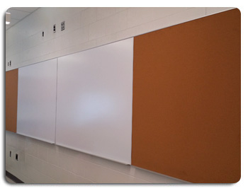 Wall Mounted Whiteboard with Corkboard on Both Ends